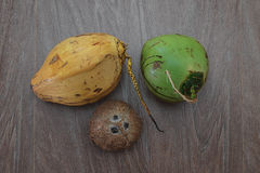 Three different coconuts on table Royalty Free Stock Image