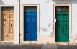 Three different color doors Stock Image