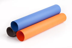 Three different color paper roll Stock Photography