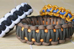 Three different color paracord Royalty Free Stock Photo