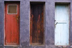 Three different color style of old door Stock Images