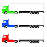Three different color truck. Raster Royalty Free Stock Photography