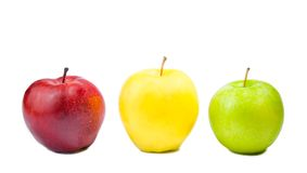 Three different colorful apples Royalty Free Stock Photos