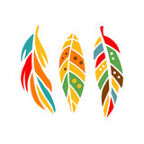 Three Different Colorful Feathers, Native Indian Culture Inspired Boho Ethnic Style Print. Tribal American Stylized Vector Illustration For Hipster Fashion Royalty Free Stock Image