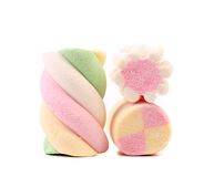 Three different colorful marshmallow. Close up. Stock Photos