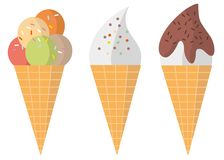 Three different colorful tasty waffle ice-cream cones vector illustration isolated on white. Three different colorful tasty waffle ice-cream cones and soft ice Stock Images