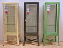Three different colors of Display Cabinet Royalty Free Stock Photos