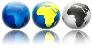 Three different colors globe variations Africa Stock Images