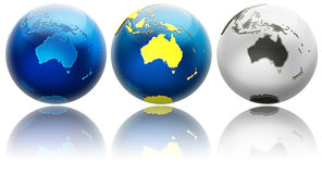 Three different colors globe variations Australia Stock Images
