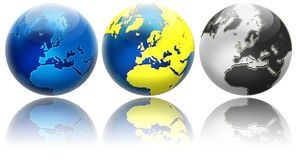 Three different colors globe variations Europe Royalty Free Stock Photography