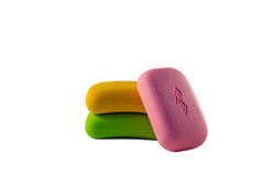 Three different colors of soap Royalty Free Stock Image