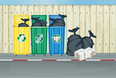 Three different colors of trash cans. Illustration of the three different colors of trash cans royalty free illustration