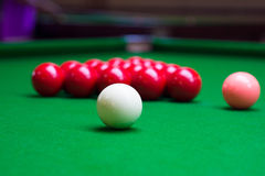 Three different colour snooker balls on the table Stock Photo