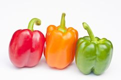 Three different coloured Peppers Royalty Free Stock Photo