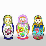 Three different colourful Russian dolls Royalty Free Stock Image