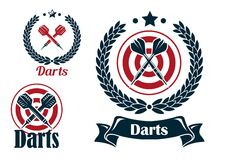 Three different darts emblems or badges Stock Photography