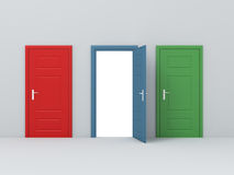 Three Different Door Stock Photo