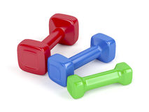 Three different dumbbells Royalty Free Stock Photo