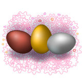 Three different Easter eggs on a beautiful background. Three Easter eggs of different colors. Vector illustration Royalty Free Stock Photo