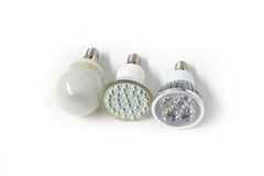 Three different Eco energy saving light bulb Stock Image