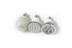Three different Eco energy saving light bulb Stock Image