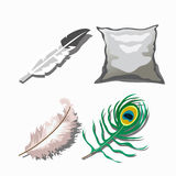 Three different feathers and white pillow Royalty Free Stock Images