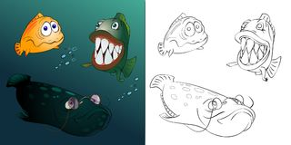 Three different fishes. Three different fish swim in the depths of the sea Royalty Free Stock Photos