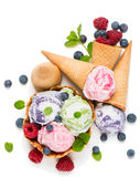 Three different flavor ice creams Royalty Free Stock Photography