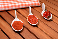 Red chili. Three different forms of red hot chili: canned, sauce and powder in white porcelain spoons Royalty Free Stock Photography