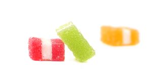 Three different fruit-paste candies. Isolated on a white background Royalty Free Stock Images