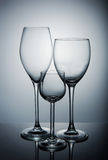 Three different glasses Royalty Free Stock Photo