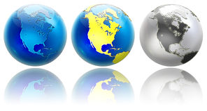 Three different globe North America Stock Photography