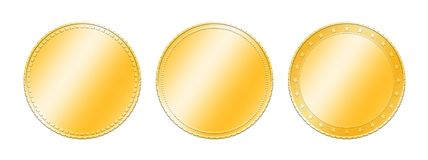 Three different gold coins over white Royalty Free Stock Images