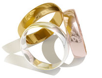 Three different golden rings Stock Photo