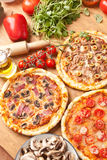 Three Different Kind Of Pizzas Royalty Free Stock Photography