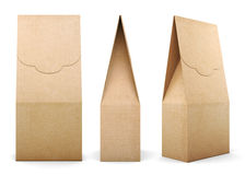 Three different kinds of Kraft bag on white background. 3d rende Royalty Free Stock Images