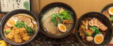 Three different kinds of ramen soup, a traditional japanese dish Stock Photo