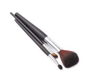Three different makeup brushes isolated Royalty Free Stock Photo
