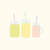 Three different mason jars with smoothies. Vector hand drawn illustration Stock Photo