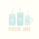 Three different mason jars stock illustration