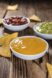 Three different nacho dips Royalty Free Stock Images