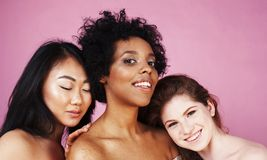 Three different nation girls with diversuty in skin, hair. Asian Stock Image
