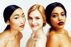 Free Three Different Nation Woman: Asian, African-american, Caucasian Together Isolated On White Background Happy Smiling Stock Image - 80001971