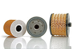 Three different oil filters Royalty Free Stock Photography