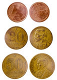 Three different old brazilian coin Stock Images