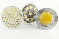 Three different optics for LED light bulbs Stock Photography