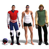 Three different outfits:. Same man in three different costumes: Racer, Sport, Winter. Mix'n'Match. With clipping path and shadow over white Royalty Free Stock Photography