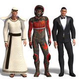 Three different outfits:. Same man in three different costumes: Beduin, Racer, Tux. Mix'n'Match. With clipping path and shadow over white Royalty Free Stock Photo