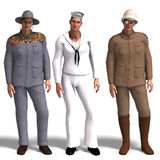 Three different outfits: Adventurer, Sailor,. Same man in three different costumes: Adventurer, Sailor, Explorer. Mix'n'Match. With clipping path and shadow over Stock Images