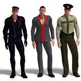 Three different outfits: Biker, Dressman, Stock Photo